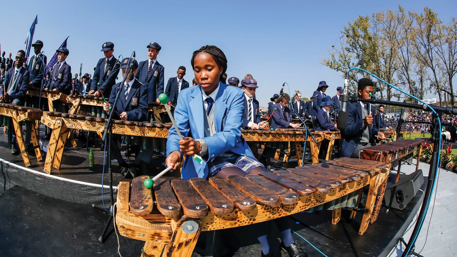 Schools performing with African muscial instruments
